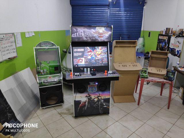 Fliperama 1.100 jogos arcades 32 pol com Karaoke 9.900 musicas - Foto 5