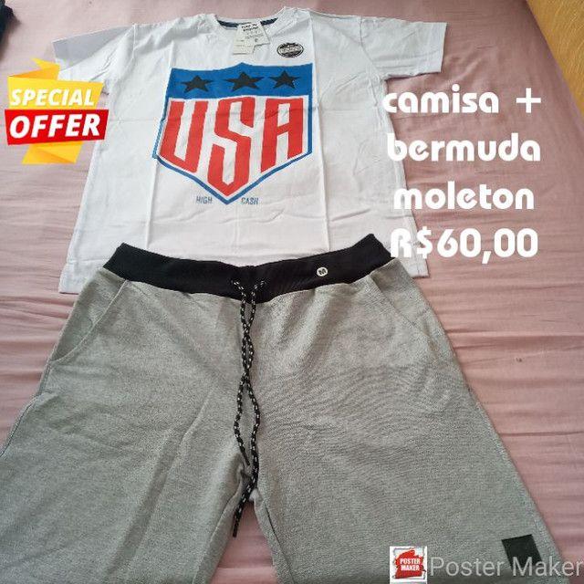 Camisas + bermuda moleton preço baixo  - Foto 3