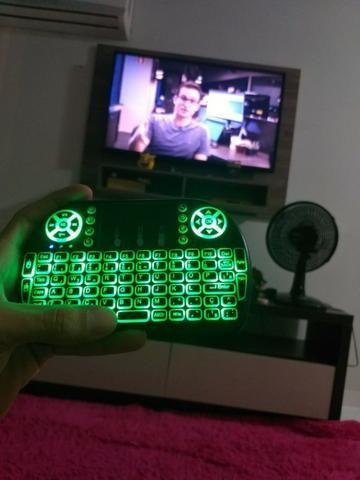 Teclado Mini Keyboard Wireless com Mouse Touch Screen Led - Foto 5
