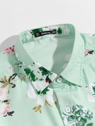 Camisa De Botão Masculina Shein - Verde Floral - Tamanho P - Foto 3