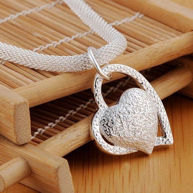 Colar com pingente Duplo de coração folheado em Prata - Foto 5