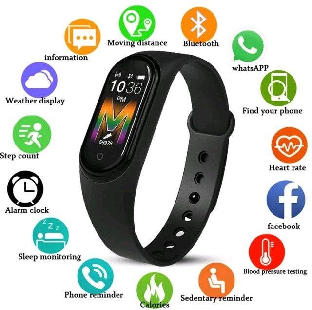 Smartwatch Original M5 Inteligente Banda Monitor Medidor De Freq Ncia Aca De Fitness - Foto 3