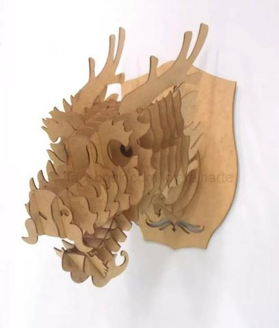 Cabeça animal - Quebra Cabeça 3d Em Mdf - Foto 3