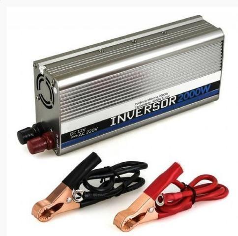 Inversor de Tensão Veicular 12VDC 220V/2000W p/ ligar Notebook, etc. Aceitamos Cartões