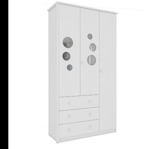 Roupeiro Infantil Guarda Roupas 3 portas 3 gavetas - Lipe *NOVO* ShopMix Móveis