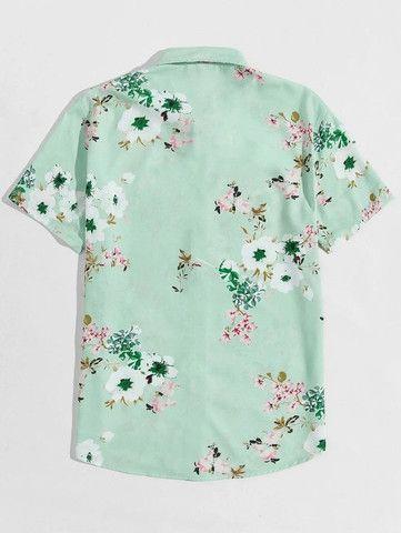 Camisa De Botão Masculina Shein - Verde Floral - Tamanho P - Foto 2