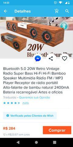 Caixa de som Bluetooth 5.0 modelo vintage MP3 player 50cmx8cm - Foto 3