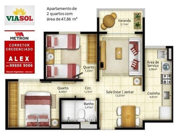 ALX - 18 - Mude para Morada de Laranjeiras - Apartamento de 2 Quartos com Varanda - Foto 14