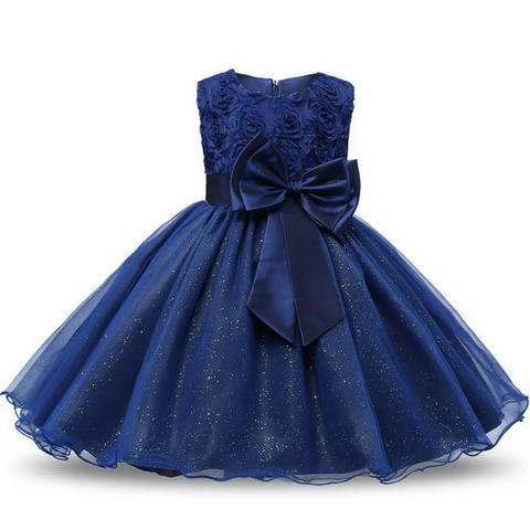 81c8ebaba4 Roupa de Festa Vestido Infantil Princesa Aniversário Tamanho 12 Azul ...