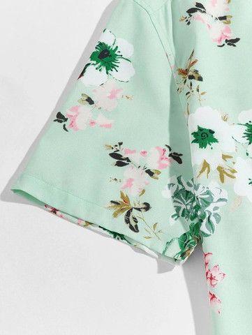 Camisa De Botão Masculina Shein - Verde Floral - Tamanho P - Foto 4