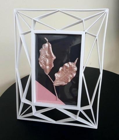 Quadro decorativo geométrico folhas Rose Gold - Foto 2