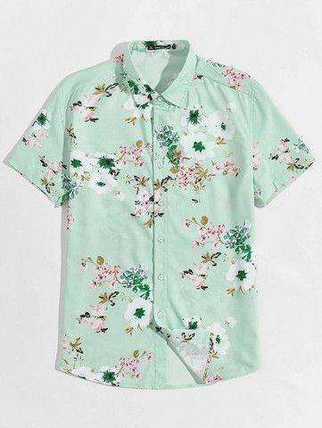 Camisa De Botão Masculina Shein - Verde Floral - Tamanho P