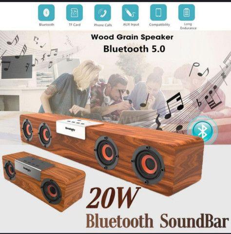 Caixa de som Bluetooth 5.0 modelo vintage MP3 player 50cmx8cm - Foto 4