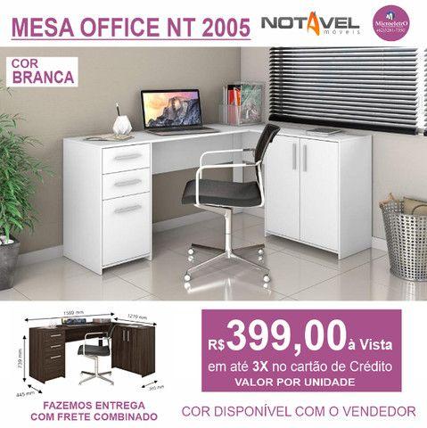 Mesa Escritorio Office NT 2005  Na Cor Branca - Foto 4
