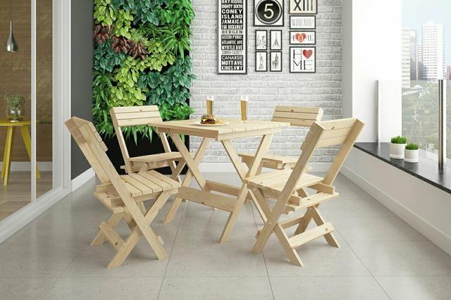 Jogo de mesa 4 cadeiras dobravel sem pintura