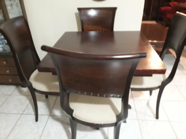 Mesa quadrada 100x100cm macica+4 cadeiras - Foto 4