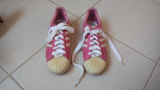 Tênis Adidas Feminino rosa e branco 39/40