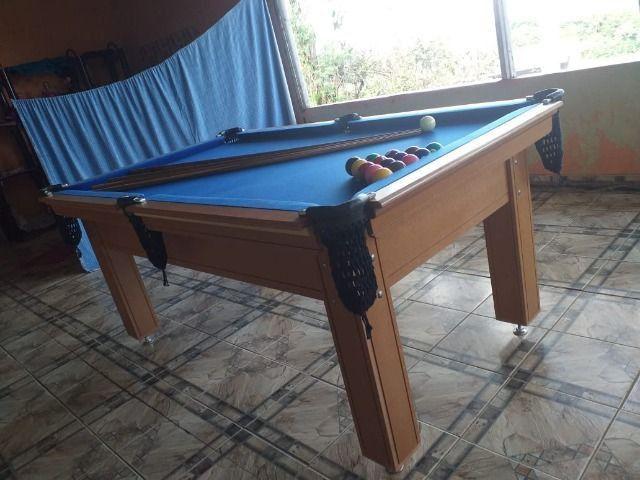 Mesa Tentação 1,93 x 1,18 Cor Cerejeira Tecido Azul Mod. HPGA6151 - Foto 2
