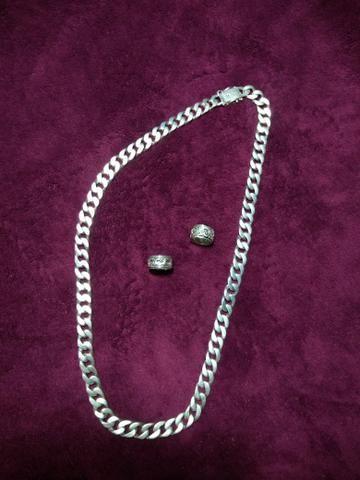 Corrente de prata 925 é 2 anéis - Foto 2