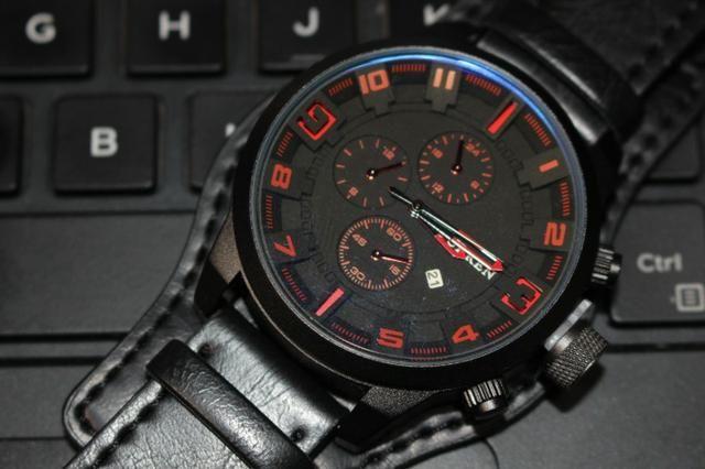 96c0e2c94 Relógio Militar Esporte Bracelete Curren Couro Preto - zap na descrição