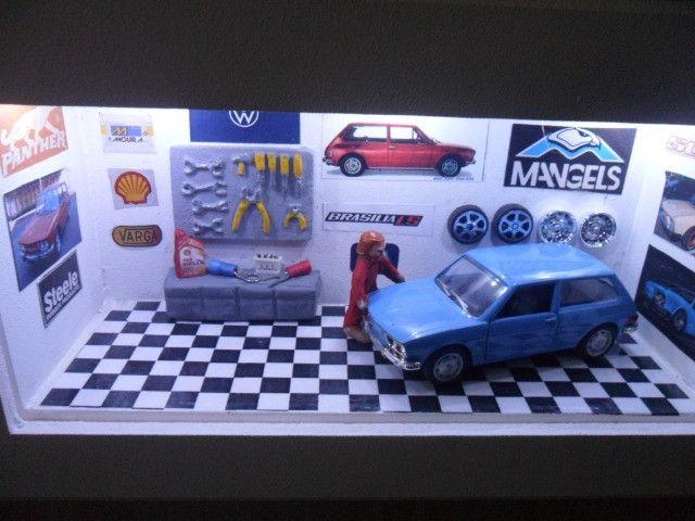 Quadro Oficina de carro miniatura Brasília nacionais