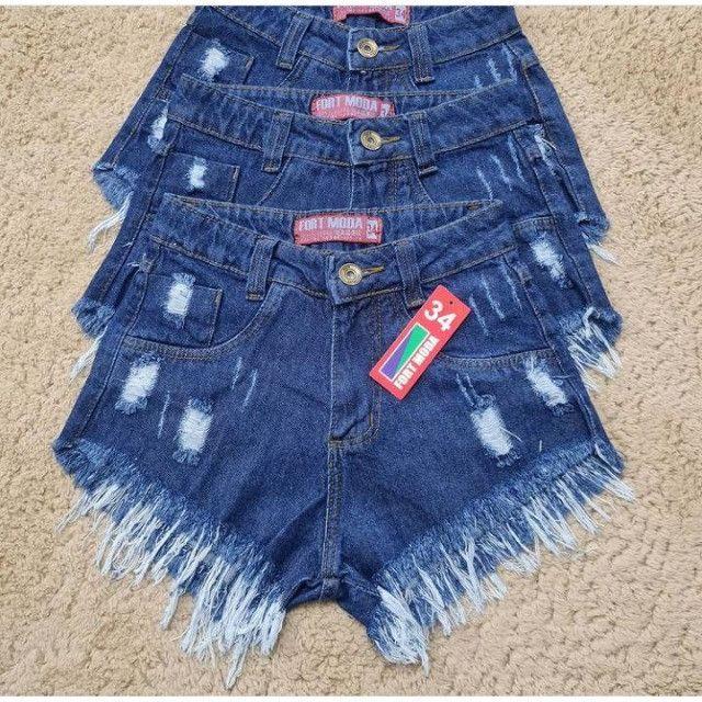 Shorts Jeans Feminino Hot Pants Cintura Alta Shorts Bermuda - Foto 4