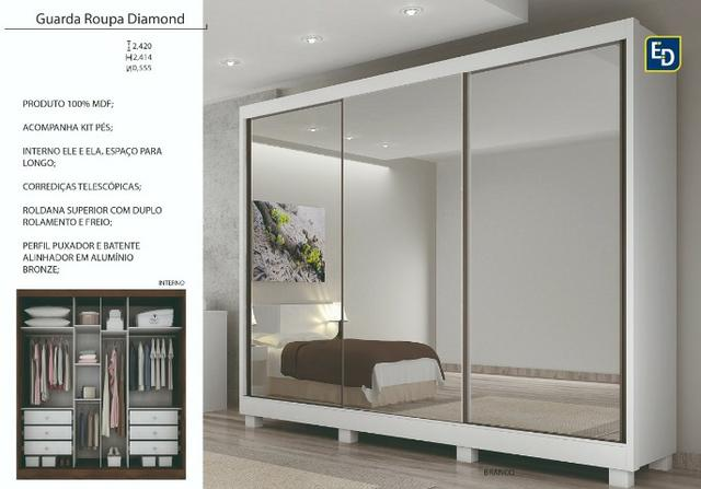 Guarda roupa passion - espelho interiço - montagem gratis - Foto 3