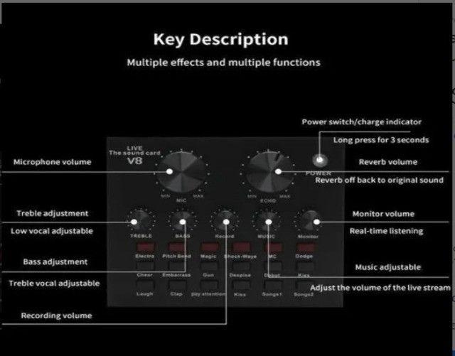Placa De Som V8 Smart Multipurpose Live Interface De Áudio V8 1ra Geração - Foto 5