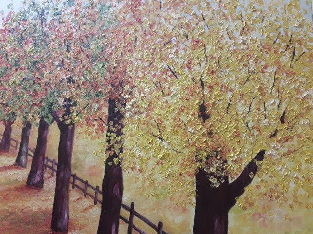 Quadro Decorativo Óleo sobre Tela - Paisagem Árvores - Foto 5
