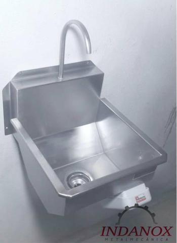Lavatório assepsia mãos e antebraço cozinhas industriais açougues frigorificos - Foto 3