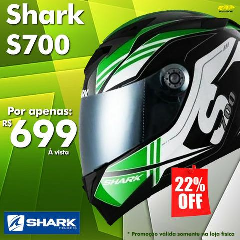 Capacete Shark S700 Por apenas R$ 699,00 Tika Kgw Preto Branco Verde