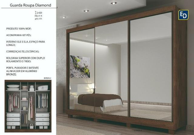 Guarda roupa passion - espelho interiço - montagem gratis - Foto 2