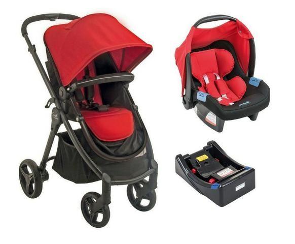 Carrinho Burigotto + bebê conforto + base