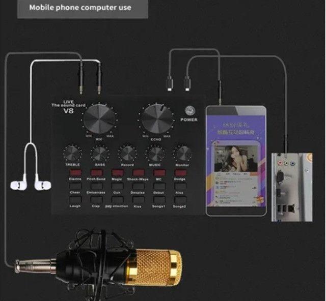 Placa De Som V8 Smart Multipurpose Live Interface De Áudio V8 1ra Geração - Foto 6