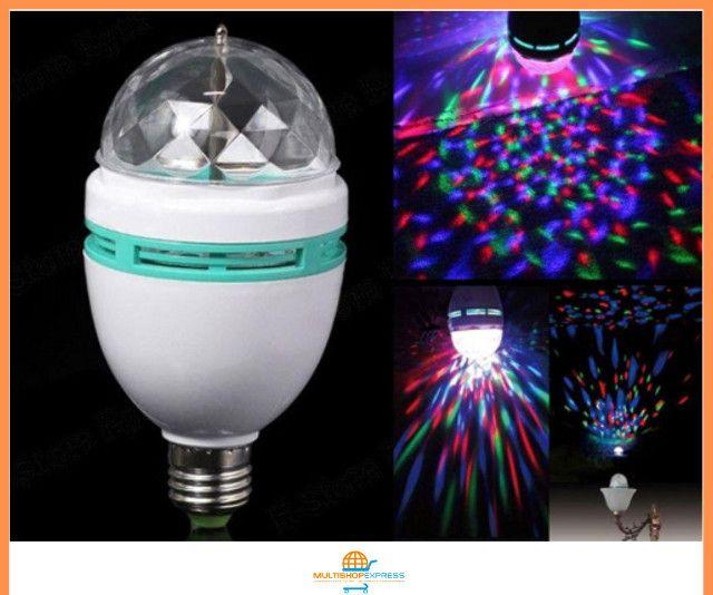 Lâmpada de LED Colorido Rotativa Giratória Bola Maluca Festa - Foto 4