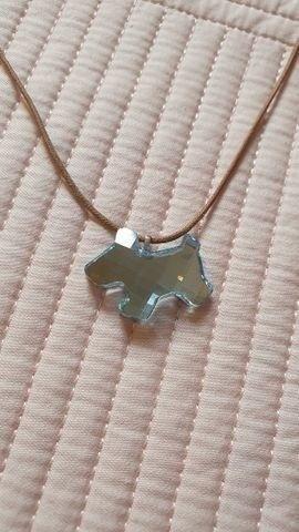 Colar Cristal Swarovski Pingente Cachorrinho Azul - Foto 2