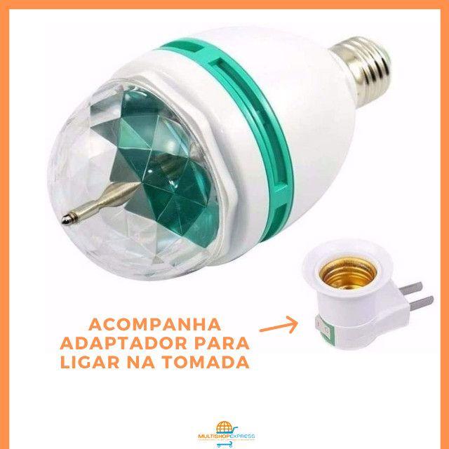 Lâmpada de LED Colorido Rotativa Giratória Bola Maluca Festa - Foto 5