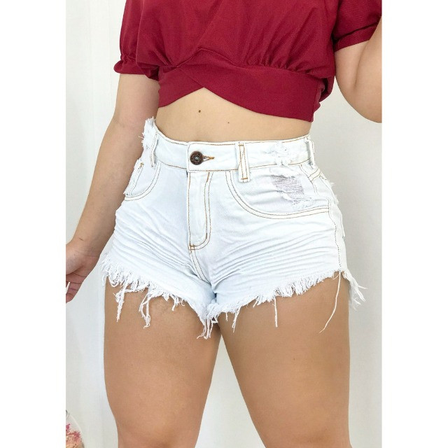 Short Jeans Curto Cintura Alta Feminino Cores - Foto 5