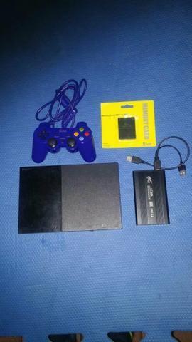 Ps2 slim com hd 160gb com jogos + memorycard Opl
