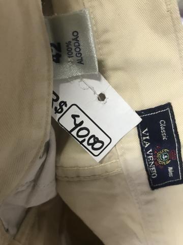 Calça sarja via Vêneto, masculina, tamanho 44, elegante - Foto 3
