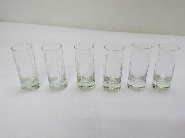 6 copos de shot de cristal anos 60