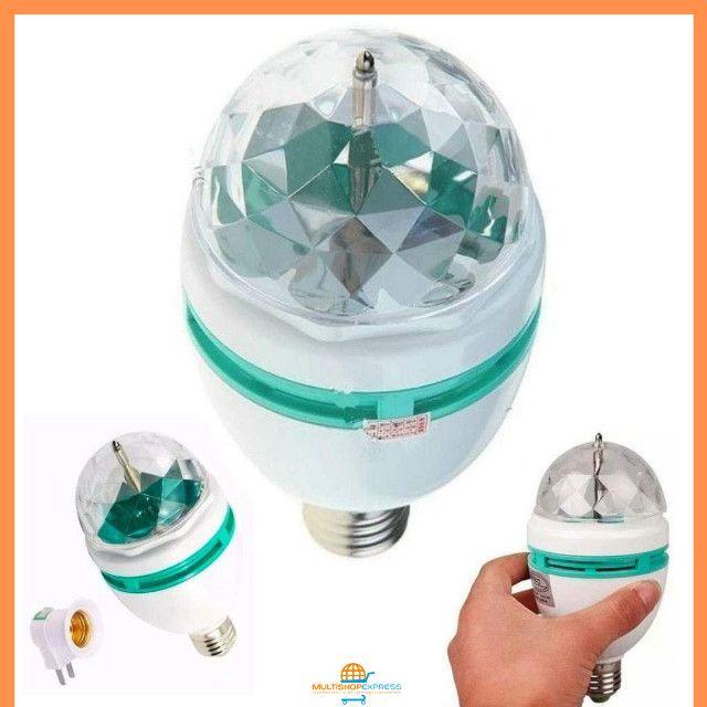 Lâmpada de LED Colorido Rotativa Giratória Bola Maluca Festa - Foto 3