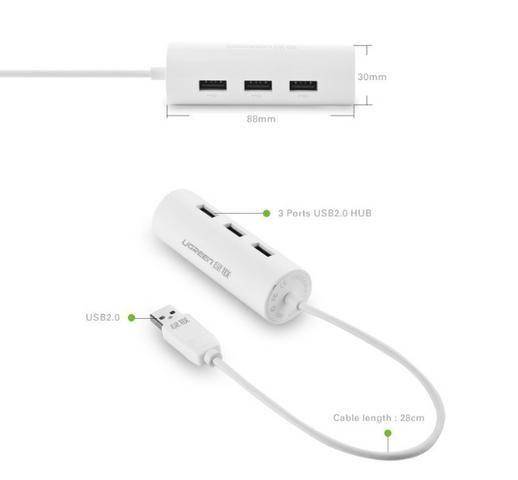 Adaptador Ethernet c/ Hub USB uGreen - Foto 2