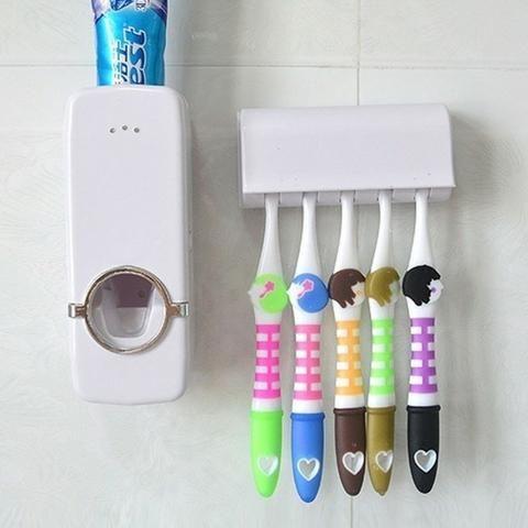 Dispenser de creme dental mais suporte de escova