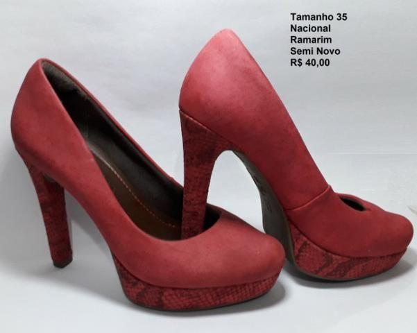 473188877 Sapato Salto Alto Vermelho Nr 35 salto 12cm plataforma 2cm - Roupas ...