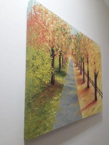 Quadro Decorativo Óleo sobre Tela - Paisagem Árvores - Foto 4
