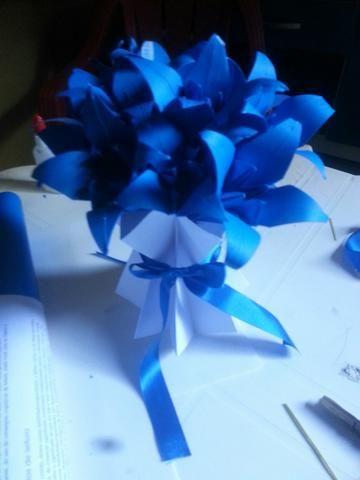 Jarro plissado com flores em origami - Foto 2