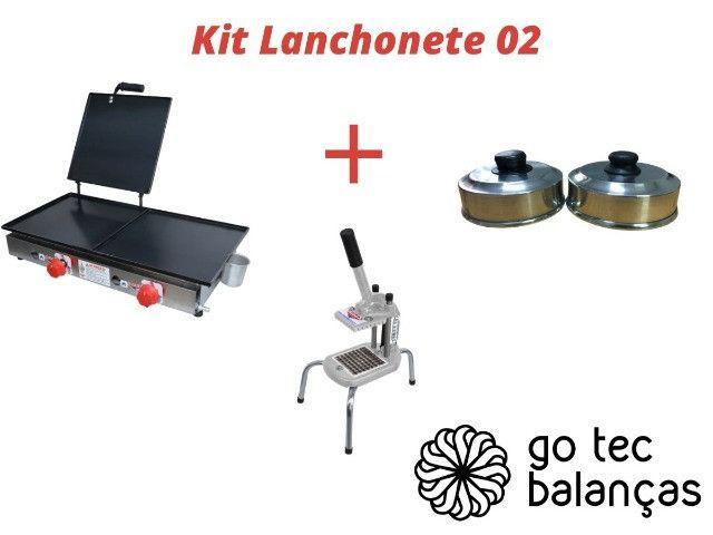 Kit Lanchonete Completo 02 - Chapa + Cortador Batata Palito + 02 Abafadores Aluminio