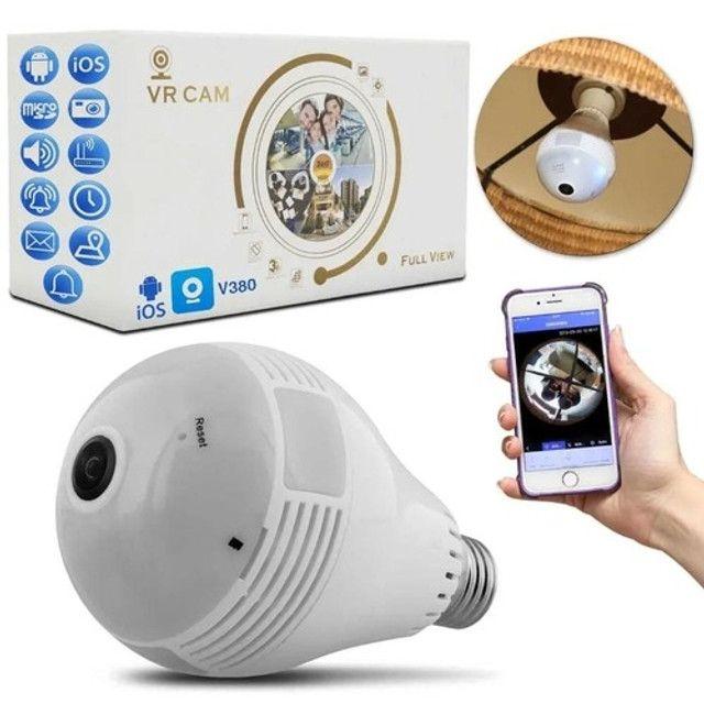 Camera Ip Seguraca Lampada Vr 360 Panoramica Espia Wifi  - Loja Natan Abreu