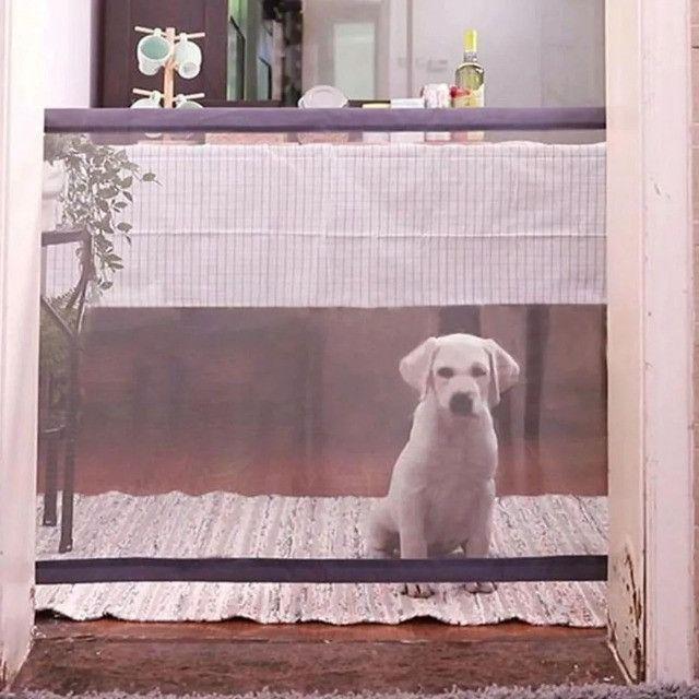 Tela Grade De Porta Cachorro Pet Caes Cao Bebe Gato Crianças Parede - Foto 4